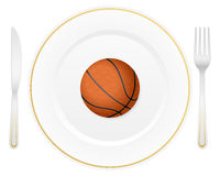 Plate and basketball ball Royalty Free Stock Photo