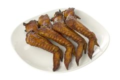 Plate of BBQ chicken wings Royalty Free Stock Photography