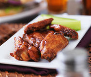 Plate of bbq chicken wings Royalty Free Stock Photo