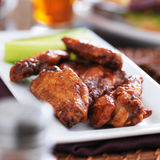 Plate of bbq chicken wings Stock Image