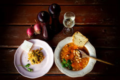 Plate with bean soup.Selective focus Stock Photo