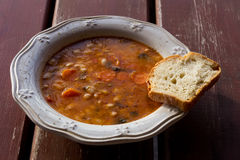 Plate with bean soup.Selective focus Royalty Free Stock Photos