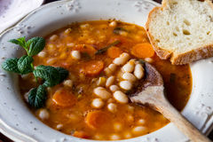 Plate with bean soup.Selective focus Stock Photography