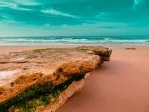The plate. Beautiful beach in the Algarve coast, ocean Atlantic, Portugal Royalty Free Stock Photo