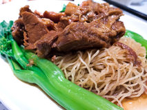 Plate of beef brisket noodles Stock Photo