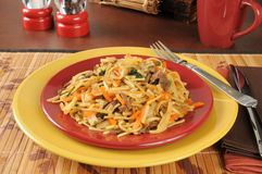 Plate of beef chow mein. Beef chow mein on colorful plates with a cup of tea royalty free stock photos