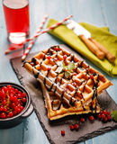 Plate of belgian waffles with chocolate sauce and currant fruit on blue wooden background. From top view Royalty Free Stock Photography