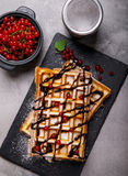 Plate of belgian waffles with chocolate sauce and currant fruit Stock Image