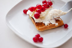 Plate of belgian waffles with cream cheese Royalty Free Stock Photos