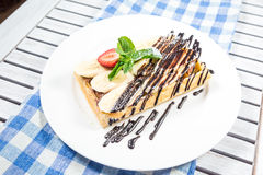 Plate of belgian waffles Stock Photo