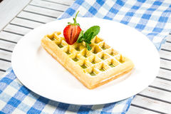 Plate of belgian waffles Royalty Free Stock Photos