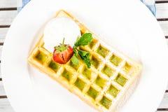 Plate of belgian waffles Stock Photos