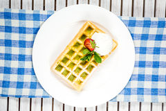 Plate of belgian waffles Royalty Free Stock Photography