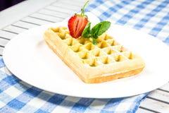 Plate of belgian waffles Stock Image