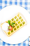 Plate of belgian waffles Stock Photography