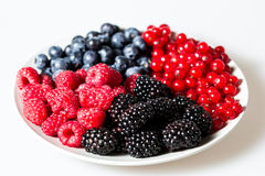 Plate of berries on white background Stock Photo