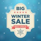 Plate big winter sale and best price beige color. Plate big winter sale beige color, Blue background; snow; Best Price Stock Photos