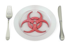 Plate with biohazard symbol, 3d Royalty Free Stock Images