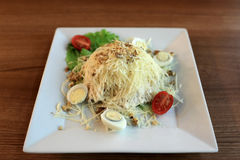 Plate of bird nest salad Stock Photo