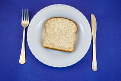 Plate with black bread slice Royalty Free Stock Photos