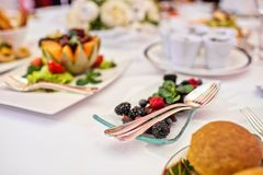 Plate with blackberries and raspberries on the table in the restaurant. royalty free stock photography