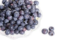 A plate of blue berries royalty free stock images