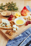 Plate with blue cheese Dor, parmesan, Brie Stock Photos