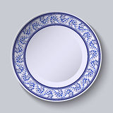 Plate with blue decorative border. Template design in ethnic style Gzhel porcelain painting. Vector illustration stock illustration