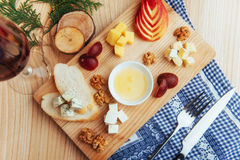 Plate with blue, Dor, parmesan cheese, Brie, Camemb Stock Images