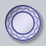 Plate with blue ornamental border. Template design in folk style Gzhel porcelain painting. Royalty Free Stock Photos