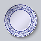 Plate with blue patterned border. Template design in ethnic style Gzhel porcelain painting. Vector illustration royalty free illustration