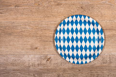Plate with blue and white rhombuses Royalty Free Stock Photo