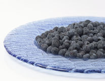 Plate of Blueberries. Blue plate filled with blueberries royalty free stock photo