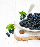 Plate with Blueberries Stock Photos