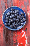 Plate of blueberries Royalty Free Stock Image