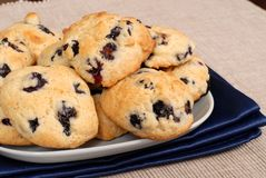 Plate of blueberry, almond, lemon cookies Stock Photography
