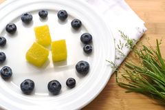 Plate with blueberry and jelly Stock Photo