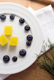 Plate with blueberry and jelly Royalty Free Stock Images