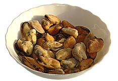 Mussels isolated on white background Royalty Free Stock Photo