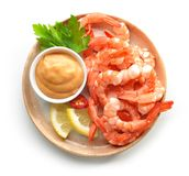 Plate of boiled prawns and salsa sauce Stock Photography