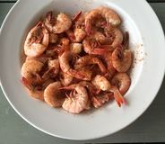 A Plate of Boiled Shrimp Royalty Free Stock Images