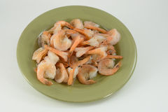 Plate of boiled shrimp Stock Photography