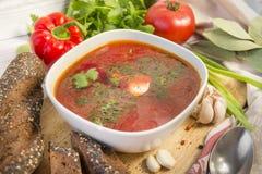 Plate, borsch, greens, sour cream, Russian food. 1, plate, borsch, greens, sour cream, Russian food, bread, soup stock photo