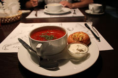 A plate with borsch Royalty Free Stock Photos