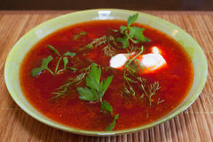 Plate of borscht Stock Photo