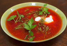 Plate of borscht Stock Photos