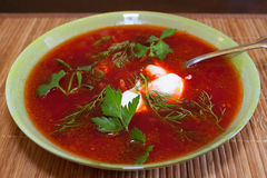 Plate of borscht Royalty Free Stock Images