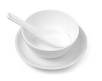 Plate and bowl. On white with clipping path Royalty Free Stock Photo