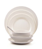 Plate and bowl. Set on white Royalty Free Stock Photos