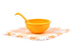 Plate and bowl. On towel Royalty Free Stock Image